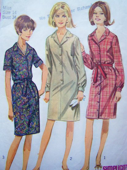 1960's Mod Dress Notched Collar B 34 Short Rolled or Cuff Long Sleeves Vintage Sewing Pattern 6698