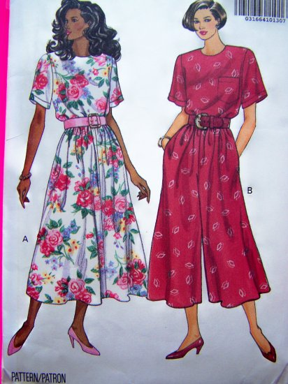 Misses Flared Skirt Dress & Culotte Gaucho One Piece Dress Sz 12 B 34 Sewing Pattern 5360