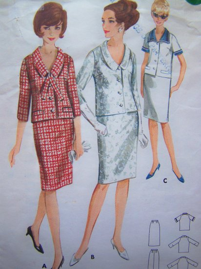 Vintage Sewing Pattern Stewardess Mod 2 Piece Dress B34 Slim Straight Skirt 3/4 Sleeve Jacket 3621
