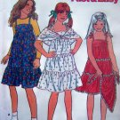 Girls Tiered Dress Tie Top Ruffle Sundress & Shawl Wrap 7 8 10 12 14 Vintage Sewing Pattern 6503