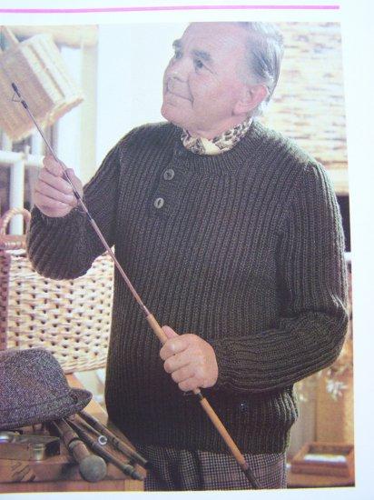 Vintage Knitting Pattern Men's Fisherman's Rib Knit Sweater Chest 36 38 40 42
