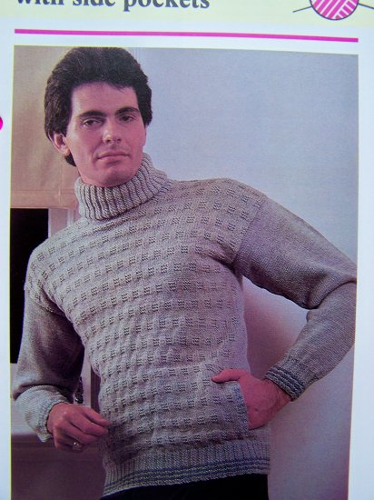 Men's Vintage Knitting Pattern Turtleneck Sweater with Side Pockets Basket Stitch Chest 34 36 38 40