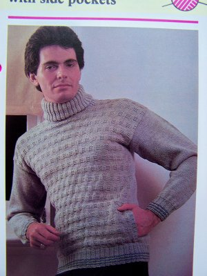 Men's Vintage Knitting Pattern Turtleneck Sweater with Side Pockets
