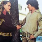 Girls And Boys Zip up Bomber Jacket Sweater Vintage Knitting Pattern S M L