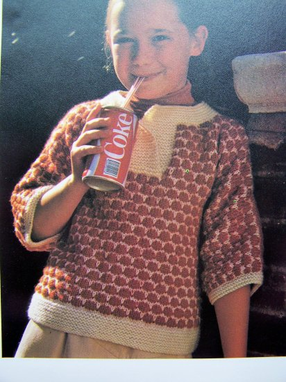 Girls Knitted Sweater Blouse 3/4 Sleeve Vintage Knitting Pattern Instructions XS S M L