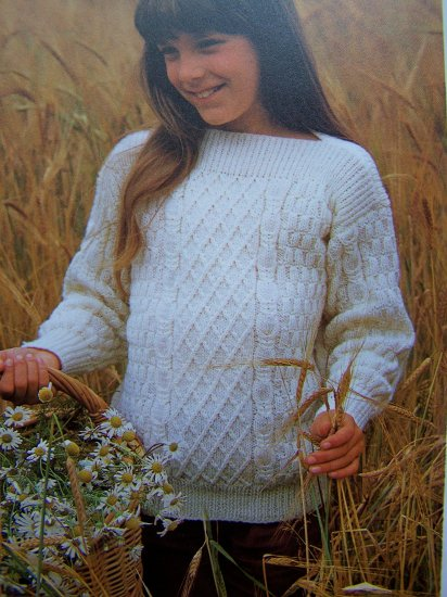 Girls or Boys Knitted Aran Type Sweater Vintage Knitting Pattern S M L XL Child's Instructions