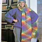 USA 1 Cent S&H 80&#39;s Vintage Knitting Pattern Rainbow Hat Fringed Winter Scarf Adult