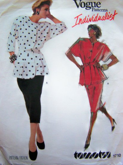 Vintage Vogue Tamotsu Peplum Top Slim Skirt 2 Piece Dress Suit 80s Sewing Pattern 1710