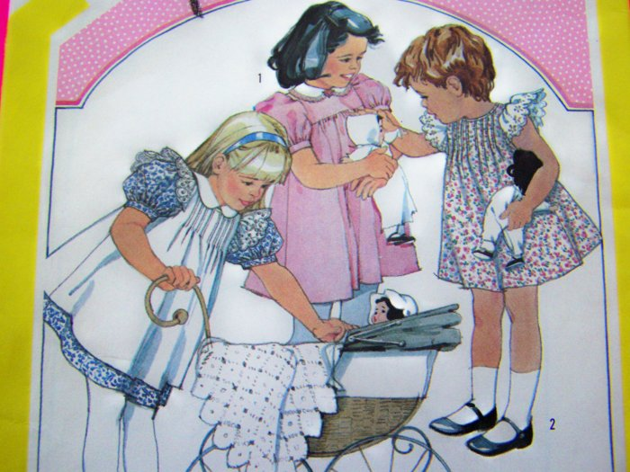 Girls 5 Cinderella Front Tuck Dress Pinafore Empire SunDress Puff Sleeve Vintage Sewing Pattern 6306