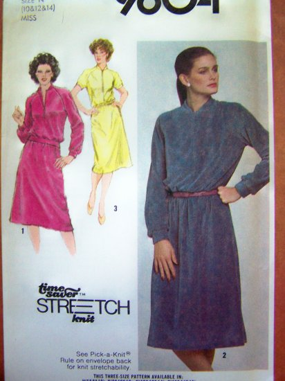 1980s Vintage Knit Pullover One or Two Piece Dress 10 12 14 Simplicity Sewing Pattern 9604