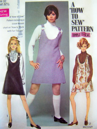 1960's Vintage Mini Go Go Dress Ring Strap Jumper Mod Learn To Sew Sewing Pattern 8414 S