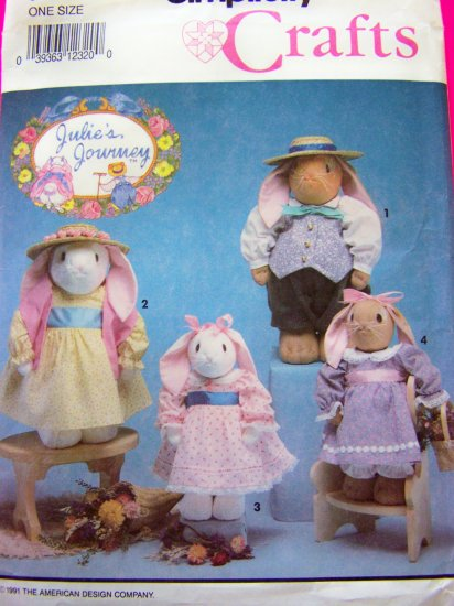 Julies Journey Stuffed Easter Bunny Doll Rabbit & Clothes Dress Crafts Sewing Pattern 7745