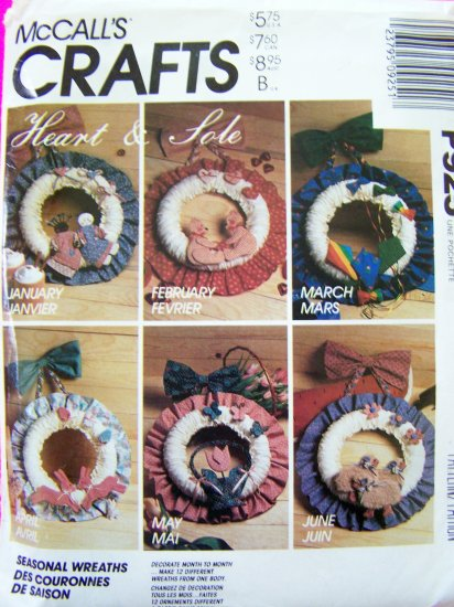 12 Seasonal Country Wreath Heart & Sole Sewing Pattern McCall's Crafts P925