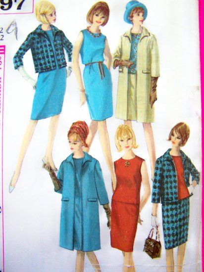 Vintage 60s Mod Dress Blouse Skirt Car Trench Coat Jacket B 32 Sewing Pattern 6197