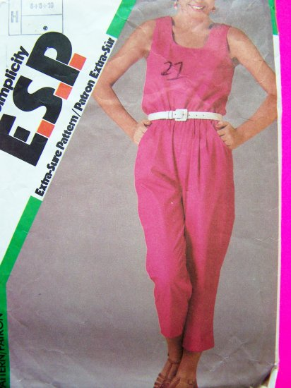 80's Vintage Capri Jumpsuit Sun Top B 31.5 Sz 8 Sewing Pattern 6834