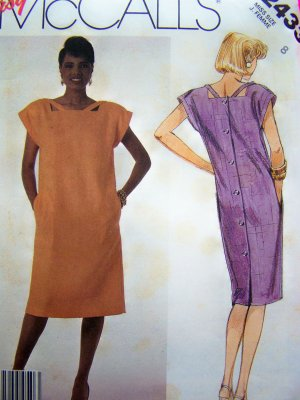 80s Vintage Sewing Pattern Slim Straight Dress Peek A Boo Cut Away Bodice Cap Sleeves 2433