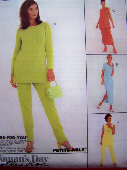 New Pullover Tunic Shirt Pull on Pants Side Slit Skirt Sz 10 12 14 Sewing Pattern 8721