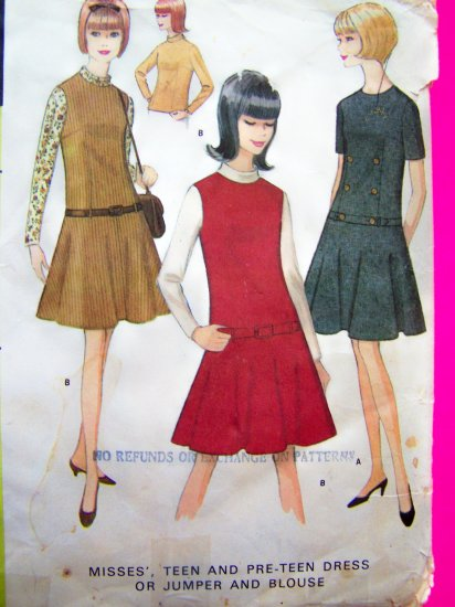 60s Mod Vintage Drop Waist Flare Skirt Jumper Dress B 36 38 Sz 16 18 Sewing Pattern 8472