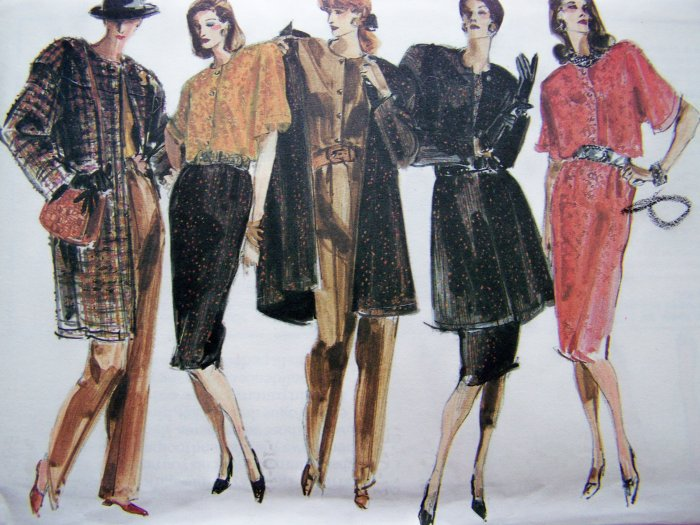 Uncut 80s Vogue Vintage Sewing Pattern Jacket Blouse Slim Skirt 8 10 12 Straight Legged Pants 990