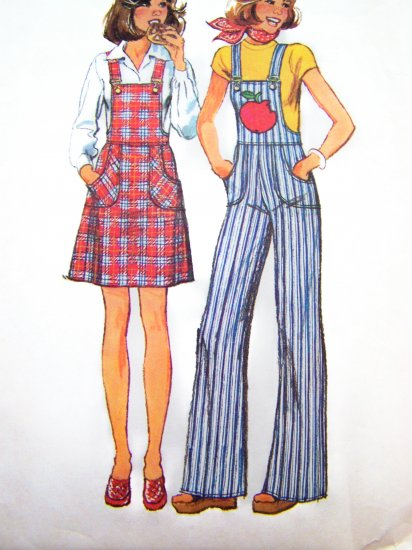 1970's Jr Teen Girls Jumper Dress Bell Bottom Overalls 9/10 11/12 Vintage Sewing Pattern 6568