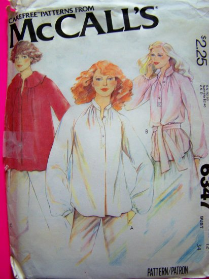 70's Vintage Tunic Smock Top Blouse Bust 34 Sz 12  Long Sleeves Vintage Sewing Pattern 6347