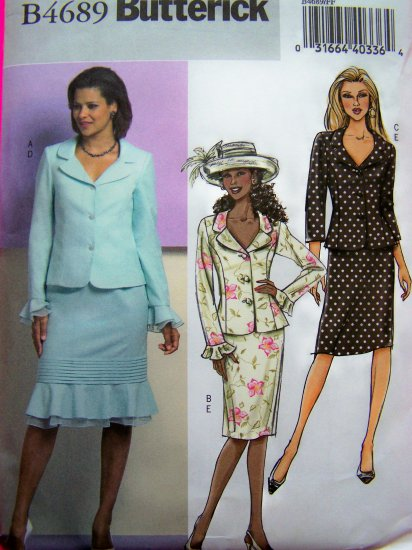 Slim or Flounce Skirt & Sleeves Jacket Suit Plus Sz 16 18 20 22 Sewing Pattern 4689
