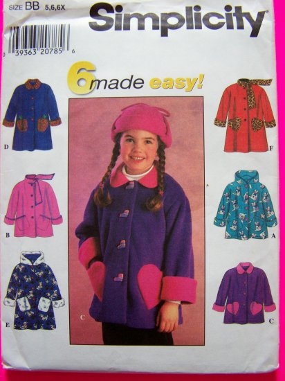 Girls A Line Hoodie Jacket Coat Scarf Collar Heart Patch Pockets Sz 5 6 6x Sewing Pattern 7822 Uncut