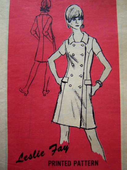 1960s Vintage Sewing Pattern Mod Dress Prominent Designer Retro Mail Order B 36 Sz 14 A 566