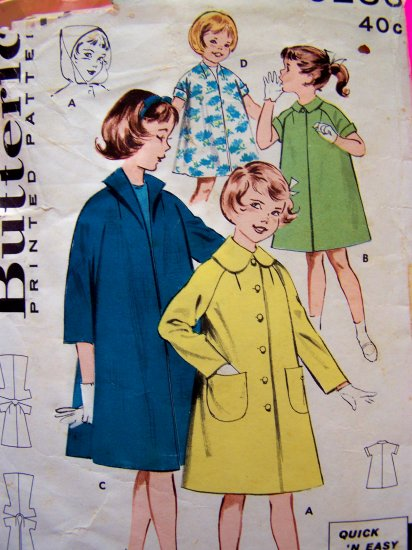 40s Vintage Girls Swing Jacket Hoodie Rain Coat Puritan Collar Converts to Hood Sewing Pattern 9286
