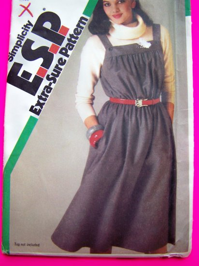 80s Vintage Pullover Jumper Dress Sundress Button Shoulder Straps Sewing Pattern 6532