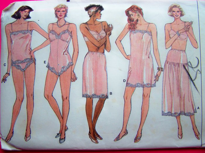 Vintage Vogue Sewing Pattern Full & Half Slip Camisole Teddy Panties Petite Small Medium Sz 6 - 14