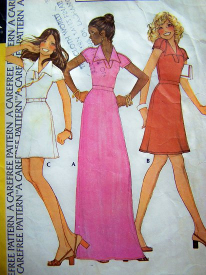 1970s Vintage Hippie Dress Mini Maxi 32.5 Stephen Burrows Designer Sewing Pattern 4089