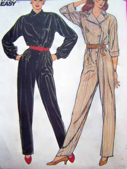 70s Vintage Sewing Pattern Jumpsuit Tapered Leg Asymmetrical Button Blouson Bodice B 32.5 Disco 6093