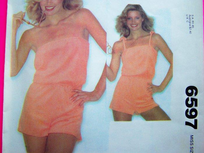 1970's Vintage Playsuit Strapless Tie Top Tube Romper Onesie Sun Suit S XS Sewing Pattern 6597