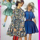 60s Vintage Girls One Piece Dress Sz 10 Full Skirt Shirtwaist Simplicity Sewing Pattern 6110