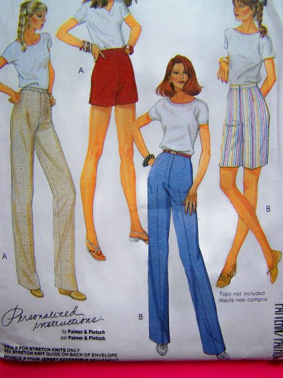 80s High Waisted Pants Shorts Elastic or Zipper Waistband Plus Size 20 Vintage Sewing Pattern 9585