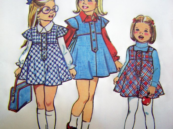 Vintage Girls Dress Puff Smock Bias Empire Jumper Sundress Toddlers 3 T Sewing Pattern 6474