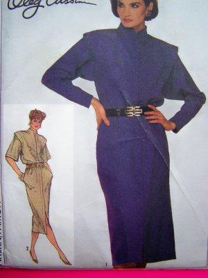 1980's Vintage Sewing Pattern Oleg Cassini Slim Dress Funnel Neck Shoulder Flange B 31.5 # 7076