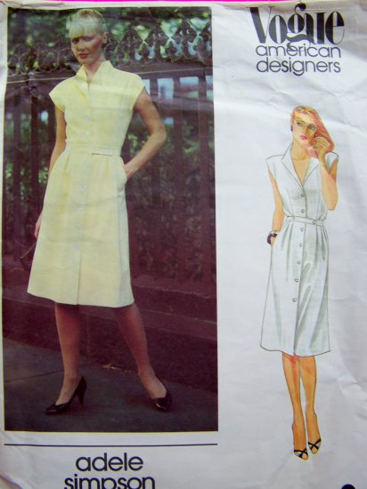70's Vintage Sewing Pattern Adele Simpson Vogue American Designers Label Included 2684
