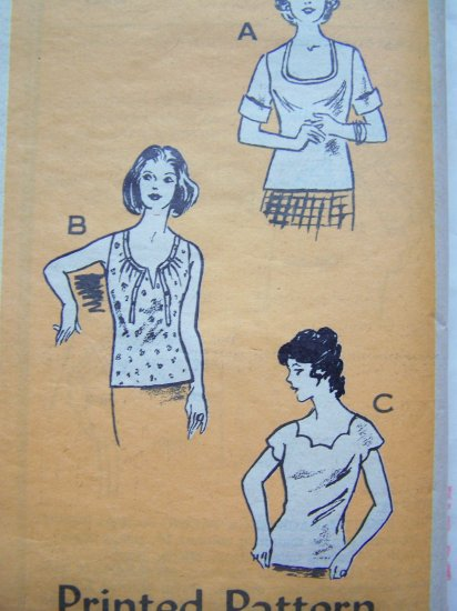 New Vintage Shirt Summer Tops Scalloped Deep Scoop Round Tie Neck Blouse B 40 Sewing Pattern 4921