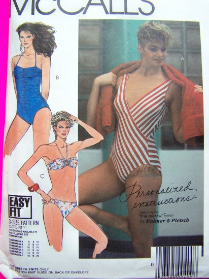 80's Swimsuits 1 2 Pc Bikini B 32.5 34 Vintage Pattern 9089
