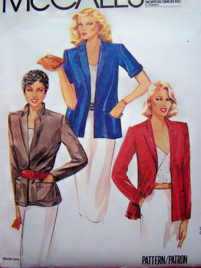 1980's Blazer Suit Jacket Short or Long Sleeves B 36 Sz 14 Vintage Sewing Pattern 6943