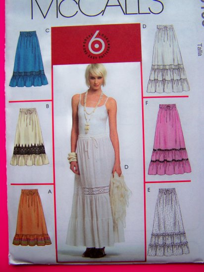 Tiered Prairie Flowing Skirt 14 16 18 20 Elastic Drawstring Waist Gypsy Sewing Pattern McCalls 5109