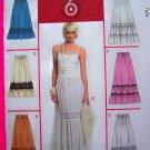 Tiered Prairie Flowing Skirt 14 16 18 20 Elastic Drawstring Waist Gypsy Sewing Pattern McCalls 5109