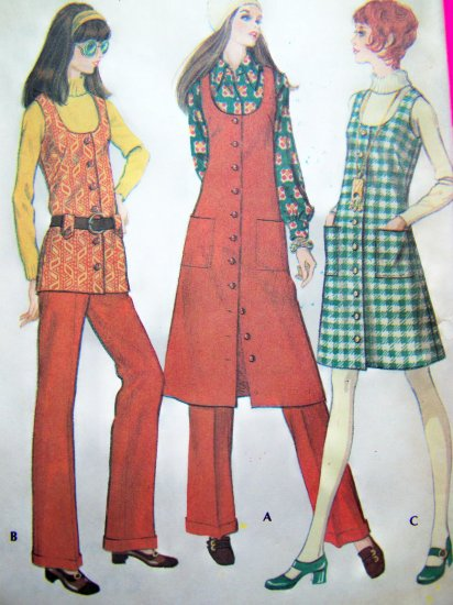 1970's Vintage Hippie Jumper Dress Tunic Vest Cuffed Pants B 38 Sz 16 Vintage Pattern 2569