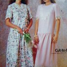 1980's Dress Dropped Waist Gathered Skirt 10 12 14 Lace Trim Variations  Vintage Sewing Pattern P970