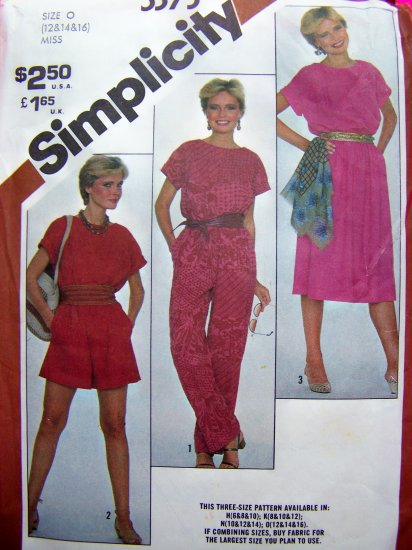 1980s Vintage Jumpsuit Shorts Romper Pullover Dress Misses 12 14 16 Sewing Pattern 5373
