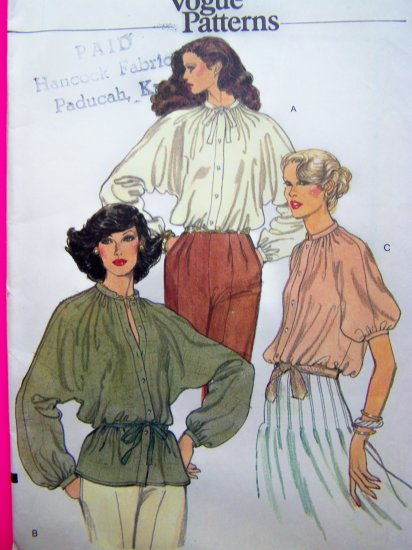 Uncut 70s Vintage Vogue Shirt Tunic Top Blouse Dolman Sewing Pattern 7097