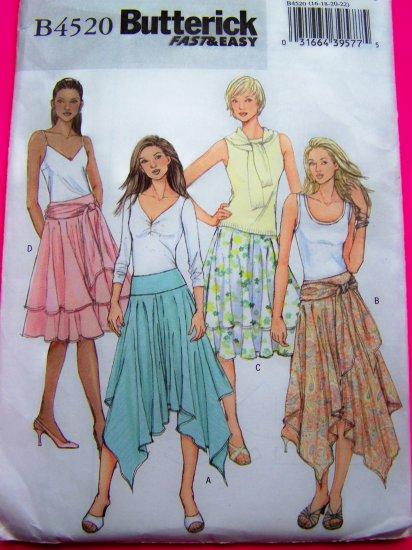 Flowing Skirt Layered Peasant Yoke Waistband Ruffled Flare Plus Size 16 18 20 22 Sewing Pattern 4520