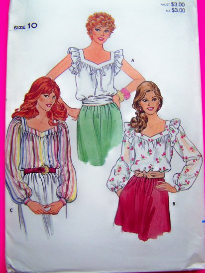 Vintage Blouse Peasant Puff Ruffle Sleeve Shirt B 32.5 Boho Shaped Neckline Sewing Pattern 4294